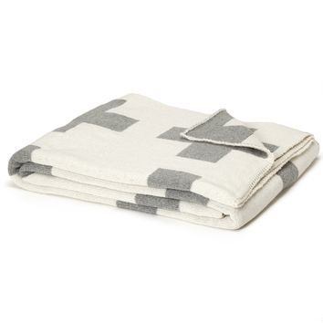 Eco-Friendly Made in USA Blanket Gray and White Reversible Swiss Cross