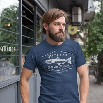 Men's Personalized Salmon Fishing T-Shirt Vintage Salmon Fishing Shirt Tee Shirt Men's Gift Custom Salmon Shirts