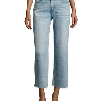 3x1 Shelter Wide-Leg Cropped Pants, Blue | Neiman Marcus