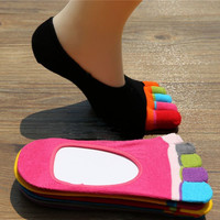New Cotton Ladies Women Five Fingers Toe Ankle Socks Invisible Liner No Show Socks Sock Slippers