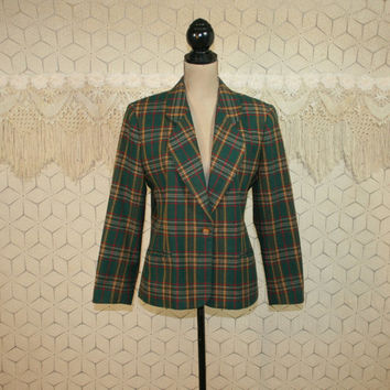 Vintage Green Plaid Jacket Tartan Plaid Blazer Petite Medium Large Fitted Wool Womens Blazer Womens Jackets Leslie Fay Vintage Clothing