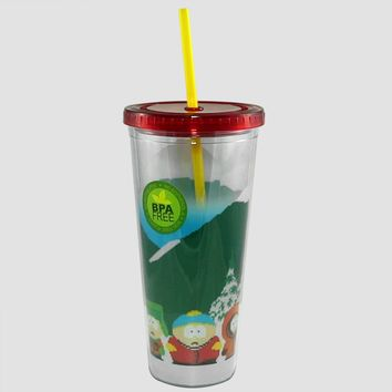 16oz OFFICIAL South Park PREMIUM Red Tumbler Travel Cup with Screw-On Lid and Acrylic Straw