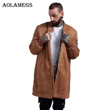 Aolamegs Bomber Jacket Men Solid Thick Suede Long