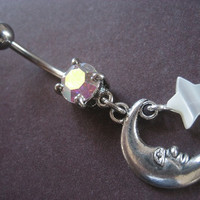 Crescent Moon and Star Belly Button Ring- Iridescent Opal Navel Bar Piercing Jewelry