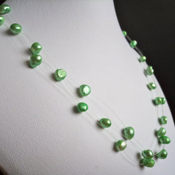 Floating Pearl Necklace Green Apple by Lunarpearl on Etsy