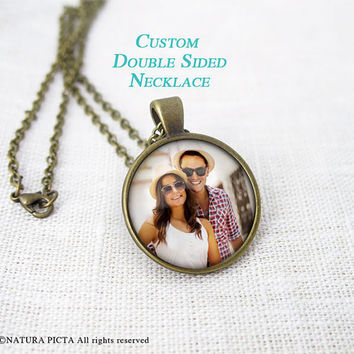 Custom double sided necklace-photo text pendant-portrait necklace-2 sided necklace-custom photo necklace-holiday gift-NATURAPICTA-NPNK053