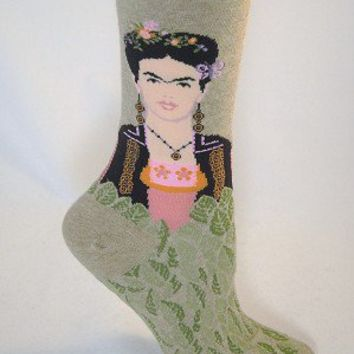 Frida Kahlo by Hot Sox, Color: hemp, Women's, Sock Size 9-11