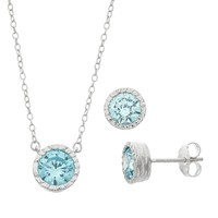 MissMimi Cubic Zirconia Sterling Silver Hammered Necklace & Stud Earring Set (Blue)