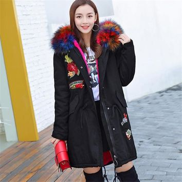 Plus Size Fur Hooded Fleece Lining Parka 2017 New Fashion Women Winter Jacket Long Coat  Warm Clothes Large 3xl 4xl Black Pink