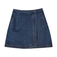 Denim Faux Wrap Miniskirt