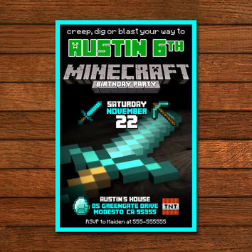 Minecraft Birthday Sword Invitation