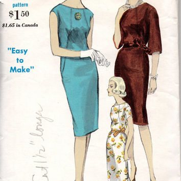 Retro Mod Mad Men Style Sheath Slim Fit Wiggle Dress 60s Vogue 5929 Sewing Pattern Sleeveless Raglan Collarless Bust 34