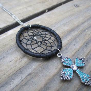 Turquoise Cross Dream Catcher Necklace