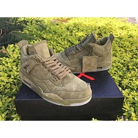KAWS x Air Jordan 4 Army Green Unisex Leather Basketball Sneaker