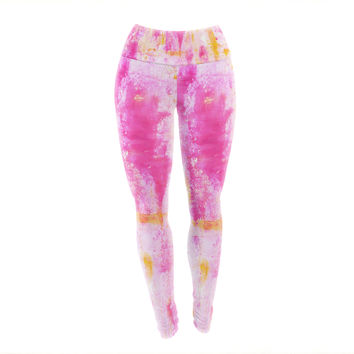 "CarolLynn Tice ""Fancy"" Pink Yellow Yoga Leggings"
