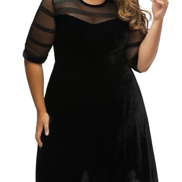 Streetstyle  Casual Chic Patchwork See-Through Plain Velvet Plus Size Flared Dress