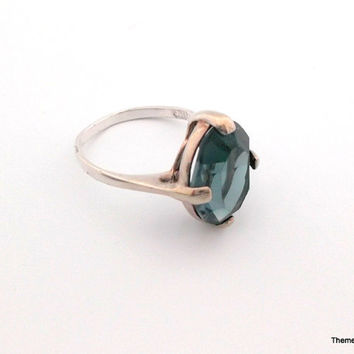925 Italy silver ring blue grey stone size 8
