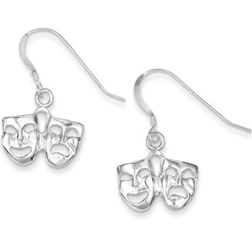 925 Sterling Silver Comedy and Tragedy Drama Masks Dangle Earrings