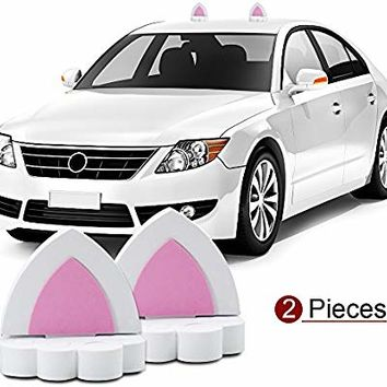 YGMONER Cat Ears Car Roof Refit Styling EVA Foam 3D Sticker (White)