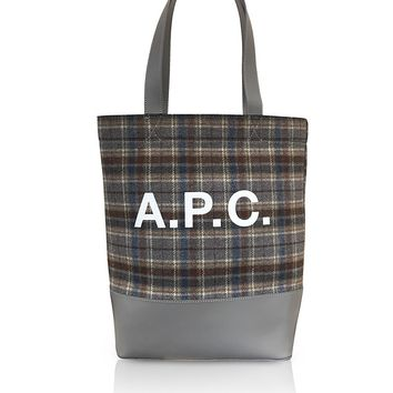 A.P.C. Tartan Wool and Leather Axel Tote bag