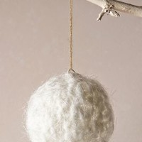 Woolen Snowball Ornament by Anthropologie White One