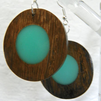Circular Dark Brown Wood with a POP of turquoise color Dangle Earrings