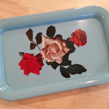 Tray Blue Metal, Light Blue Red Roses and White Roses, Metal Breakfast Serving Trays, Waitress Display Coffee Tray