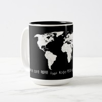 Caffeic World: coffee in several languages Two-Tone Coffee Mug