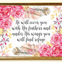 Bible verse Printable He will cover you Psalm 91:4 Bible quotes Print Christian wall art Scripture Watercolor Feather 10x8 Digital file SALE