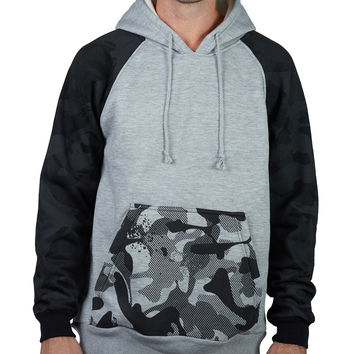 LE3NO Mens Camo Raglan Fleece Hoodie Shirt with Pocket (CLEARANCE)