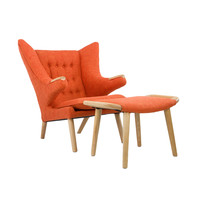 Teddy Lounge Chair & Ottoman in Orange