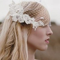 White Blusher Veil with Ivory Alencon Lace by Loveybyisha on Etsy