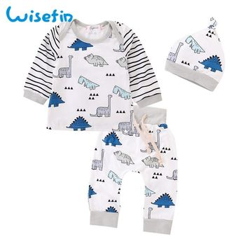 Wisefin Dinosaur Newborn Baby Boy Clothing Winter Striped Fall Newborn Outfits For Girl Cute Unisex Infant Boy Clothes Set 3 Pcs