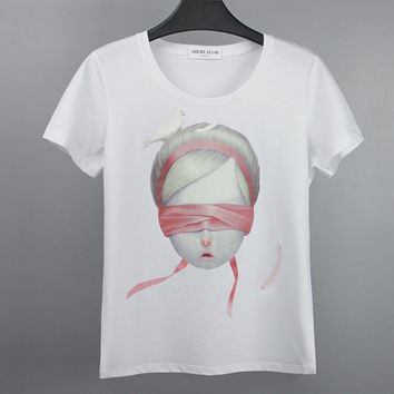 Fashion blindfold doll pigeon print T-shirt pure cotton blouse T-shirt