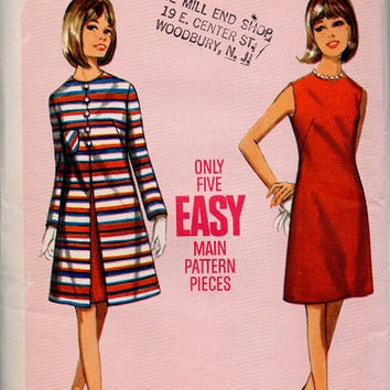 Butterick 60s Sewing Pattern Basic Sheath Dress Evening Coat Mad Men Style A-line Jacket Retro Two Piece Set Uncut FF Bust 34