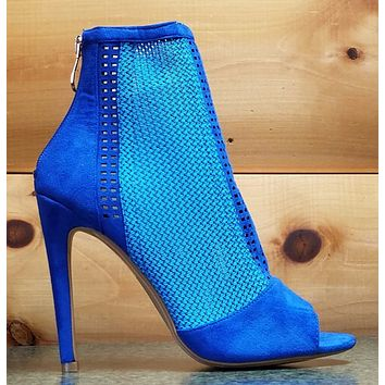 "CR Elenora 25 Blue Ankle Boot 5"" Heel Weave Fabric Peep Toe Size 5.5 & 7"