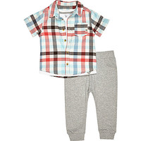 River Island Mini boys white check shirt joggers outfit
