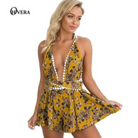 Fashion Women Boho Body suit Summer Loose Printed Halter Style Sleeveless Hippie Mini Playsuit    Women Clothing Vestidos