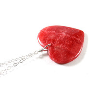 Sterling silver necklace heart jewelry red gemstone love