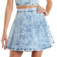 Acid Wash Denim Skater Skirt by Charlotte Russe - Med Acid Wash