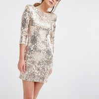 TFNC | TFNC Patterned Sequin Mini Dress with 3/4 Sleeve at ASOS