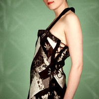 Chinese Brocade Black & White Silk Patchwork by OneKindCouture