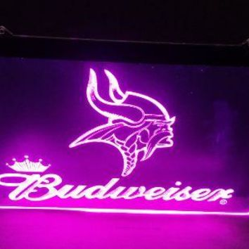B-211 Minnesota Vikings Budweiser beer bar pub club 3d signs LED Neon Light Sign man cave