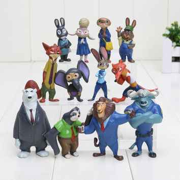 Free shipping 12pcs/lot 4-7cm new Movie Zootopia Cartoon Utopia Action Figure Movie Pvc Mini Models Nick Fox Judy Rabbit