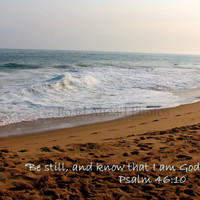 beach photo, Psalm 46:10, 8 x 10 matted photo, scripture photo