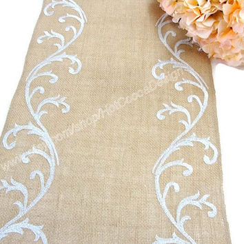 Silver sequin Table Runner Sophisticated Wedding decoration Burlap Embroidered country wedding reception table by Hot Cocoa Design
