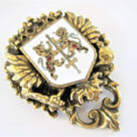 Red White Heraldic Brooch, Gold Tone, Lion Shield, Coat of Arms Brooch