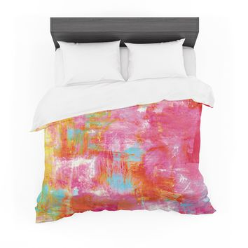 """Ebi Emporium """"Off The Grid III"""" Pink Yellow Featherweight Duvet Cover"""