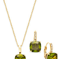 City by City Gold-Tone Olive-Stone Pendant Necklace and Drop Earrings Set
