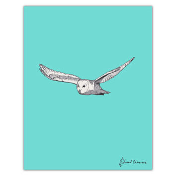 Barn Owl Pencil Illustration Art Print | Pop art style bird against a bright blue solid background | modern nursery decor original drawing